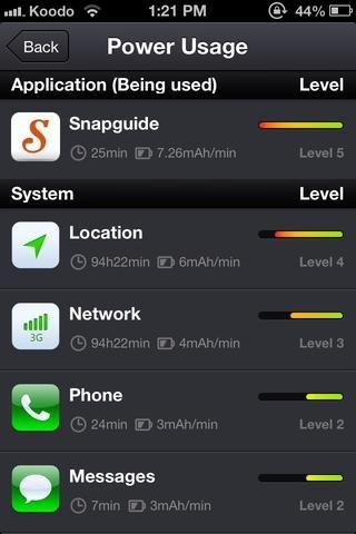 Esta es la pantalla de uso de la energía, como se puede ver que estoy utilizando Snapguide, por supuesto -) Cosas como el teléfono y la red puede't be turned off, but hey! We need that! Otherwise why do we have a phone? :)