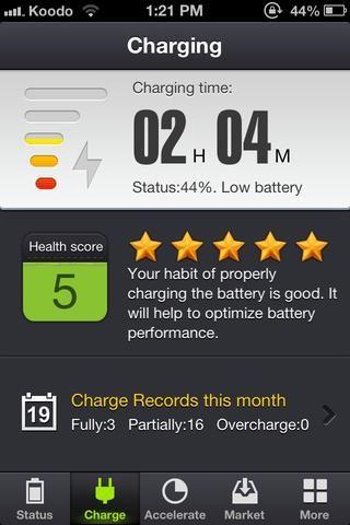 La aplicación te dice cuánto tiempo le tomaría a cargo, y le da una calificación con estrellas sobre lo bien que usted carga y mantener su batería, que le da una batería mejor y más tiempo en el largo plazo!