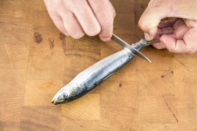 Con un pequeño cuchillo de pelar, raspar la piel de la cola a la boca.