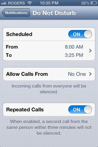 También puede hacer que autorice convocatorias específicas que se permita, y tienen que sonar después de que alguien llama otra vez 3 minutos después de llamar cuando No molestar está en