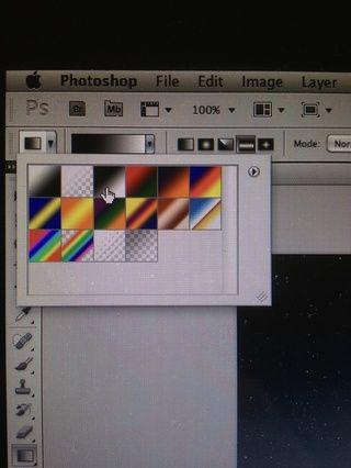 Un paso importante es elegir el negro a blanco gradiente de muestra y elija el estilo se refleja de modos. Como hemos visto anteriormente. Modo Reflejada es el pequeño icono a la derecha de las muestras.