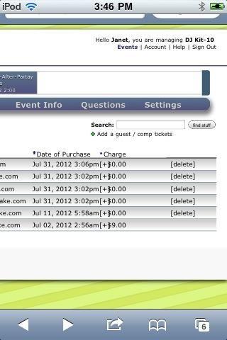 Observe que la lista de invitados preciosa se puede buscar, así como se puede ordenar por nombre, correo electrónico, etc. invitados libres pueden ser eliminados a través del enlace a la derecha. Añadir huéspedes a través del signo más verde bajo el cuadro de búsqueda.