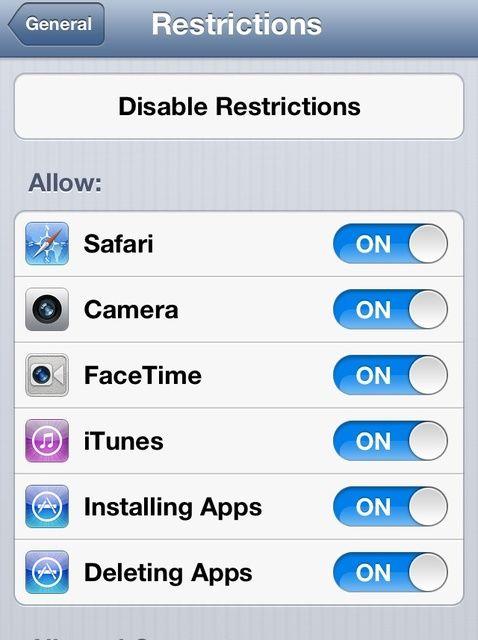 Cómo establecer restricciones en la I-Dispositivos