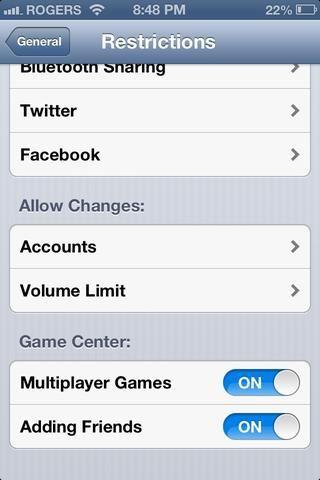 Y usted puede poner un límite máximo de volumen, si se puede cambiar cuentas de alrededor (como cuentas de correo) y si se puede añadir / jugar con otros en GameCenter