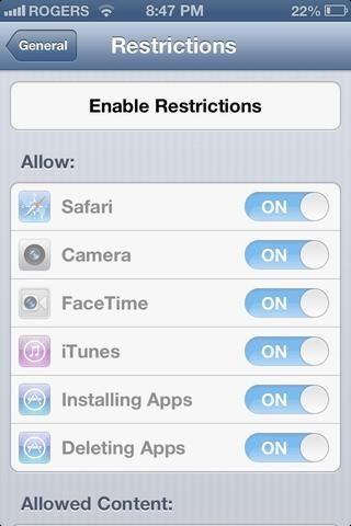 Ingrese y luego Activar Restricciones