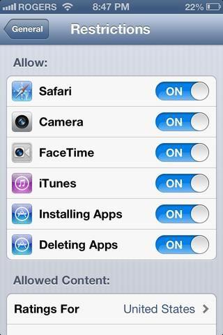 Puede permitir que las cosas específicas, como si se puede eliminar / instalar aplicaciones o FaceTime. Si desactiva iTunes, o la cámara, o Safari, las aplicaciones van a desaparecer!