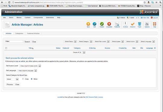 En su sitio de administración, vaya a la gerente de artículo. Debido a la forma en Joomla está configurado, tenemos que escribir el contenido de la
