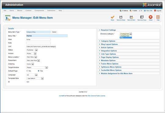 En el lado derecho de la pantalla, seleccione la categoría que ha creado para su página principal / blog. Guardar cerrar.