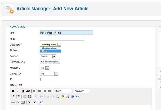 Vaya de nuevo a la gerente de artículo. Ahora puedes actualizar tu blog! Rellene el artículo y asegúrese de elegir su