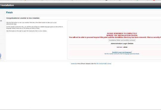 Una vez que haya terminado el administrador configurar, dreamhost requiere para eliminar la carpeta de instalación.