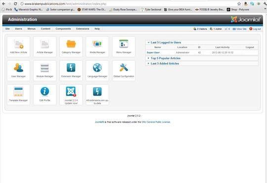 Ahora tiene que configurar la parte delantera de su sitio, en donde los lectores podrán ver tu blog. Vamos a utilizar una plantilla que he comprado de rocketrheme.com. Haga clic en Administrador de extensiones.