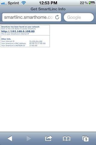 Haga clic en la dirección IP del SmartLinc que se ha encontrado.