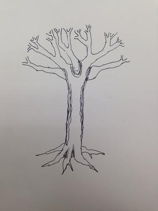 Sea muy intencional será la dirección de sus líneas. Ronda de las líneas alrededor de las ramas.