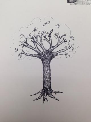 Dibuja un esquema básico de donde desea que las hojas sean.