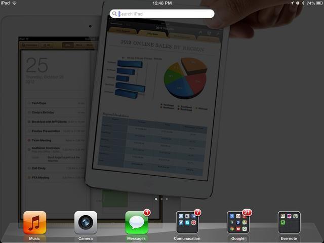 En iOS 6 comienzo con la apertura de la barra de búsqueda.