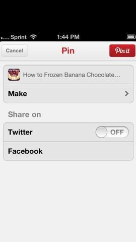 Usted será llevado a la aplicación de Pinterest. Aquí puede cambiar el título y elegir la junta para su guía. A continuación, puntee en el rojo