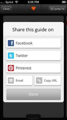 Usted será llevado directamente a Snapguide. Pulse Listo para continuar buscando, o compartir con otras redes!