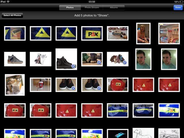 Seleccione las imágenes de la cámara en marcha y luego puntee en Listo