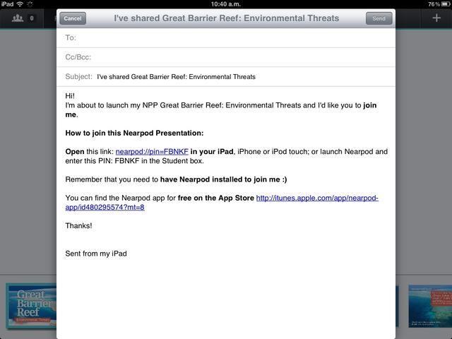 Un navegador web se abrirá para que ingrese todos los estudiantes' emails and send them the PIN.