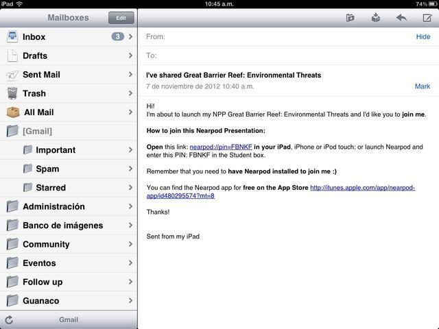 Cada estudiante recibirá el correo electrónico con el enlace para abrir el NPP. Deben abrirlo desde la aplicación de correo en el iPad. Al hacer clic en el enlace, el Nearpod aplicación se abrirá.