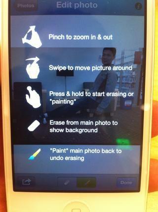 La instrucción de la pantalla de edición.