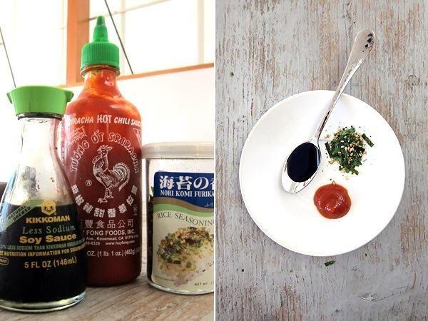 Algunos grandes condimentos para su musubi de spam .... Salsa de soja, sriracha y algas furikake / sazonar el arroz!