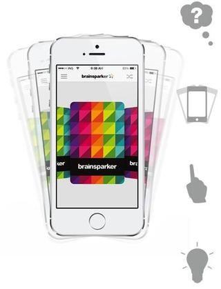 En primer lugar, descargar brainsparker desde iTunes. Entonces pensar en su desafío. Agitar el teléfono para barajar las cartas y toque para elegir al azar. Luego de reflexionar sobre qué nuevas ideas esta tarjeta chispas.