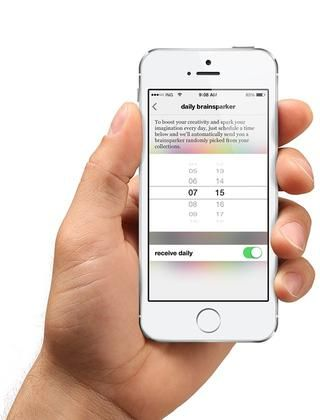 Además, para un alza diaria de la creatividad, puede programar una brainsparker diaria que se entrega a su iPhone o iPad a la misma hora todos los días.