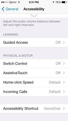 Seleccione el menú de acceso directo de Accesibilidad en la parte inferior.