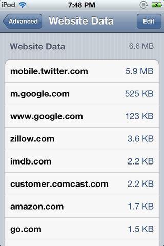 Esto le lleva a una página donde se puede encontrar los sitios que tienen las cookies en tu dispositivo iOS. Pulse Editar en la esquina superior derecha.