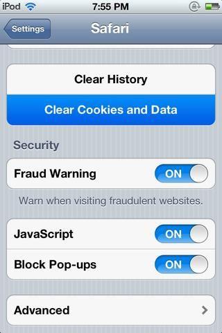 Borrar cookies medios para eliminar los datos de inicio de sesión, y cualquier cosas de seguimiento desde el dispositivo iOS.