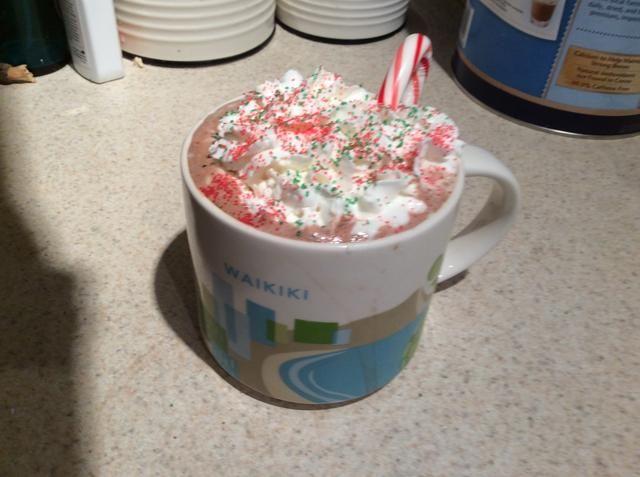 Agregue la crema batida, bastón de caramelo, y rocía! Y voila usted tiene un chocolate caliente de vacaciones perfecto !!!