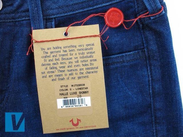 El vendedor puede todavía tener las etiquetas originales de swing. De ser así de nuevo compruebe que el tamaño y el estilo de la información coincide con el que se detallaban en otros lugares en los pantalones vaqueros.