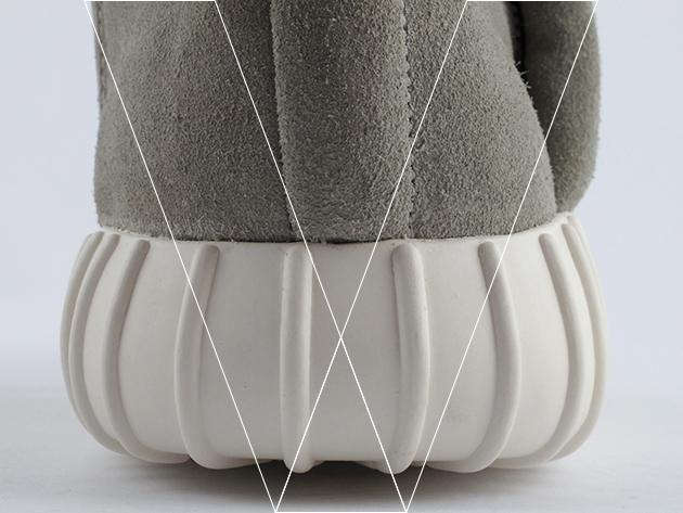 2. Forma Suela: Detrás de la forma única suela queda claro. Compruebe que la forma de protuberancia redondeada tiene una curva constante, compruebe las costillas moldeadas terminan antes de que la parte superior de la suela se encuentra con el superior.