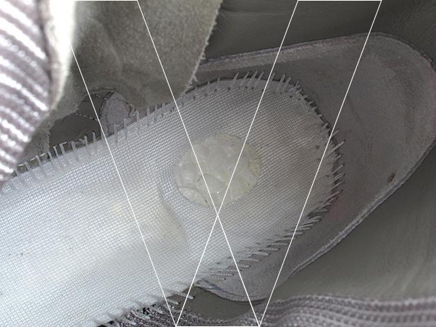 5. Plantilla: Retire el inserto plantilla y se puede ver el material del sistema Boost. Asegúrese de que la burbuja moldeado como material de muestra. Asimismo, tomamos nota de la costura de unirse a la plantilla a la parte superior.