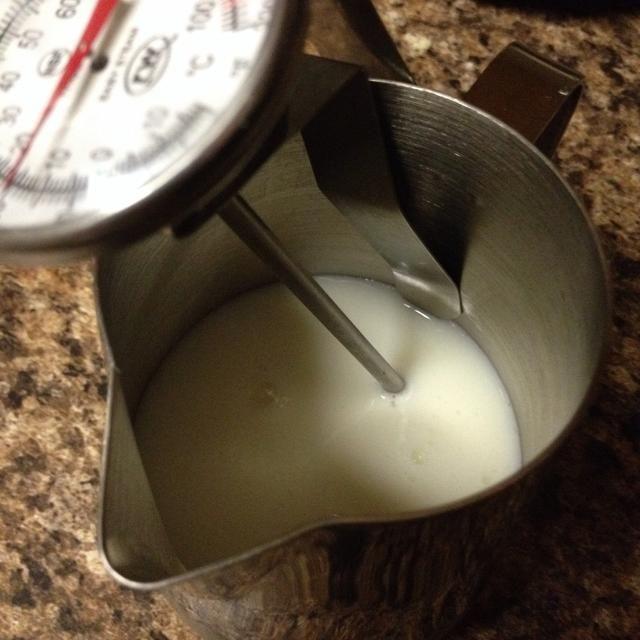 Esta es la cantidad adecuada de leche para mis copas, aproximadamente 3 onzas líquidas de leche. lo sé's to the bottom of the thermometer clasp. You can also measure it. Don't want to come up short!
