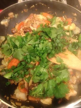 ... y el cilantro fresco y cebolla verde. (Las cebollas son de mi jardín ??????)