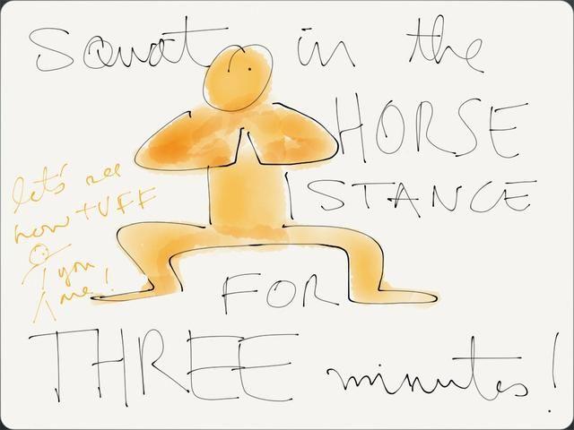 B) la postura del caballo (3 min.) En un par de minutos cuando el modo de combustión entra en acción, dan al cuerpo un hueso, pantalón como un perro y dejar un poco de vapor. Llanto está bien. Quédate con ella. No hiperventilar.