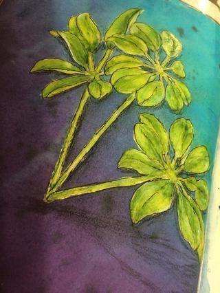 He añadido líneas de boceto alrededor de las hojas y tallos con una pluma de tinta negro. Y, he añadido un poco de sombreado con carbón negro y un lápiz negro Stabilo.