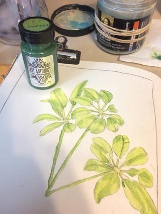 A continuación, me protegí con el siguiente color de verde, trébol Velvet.