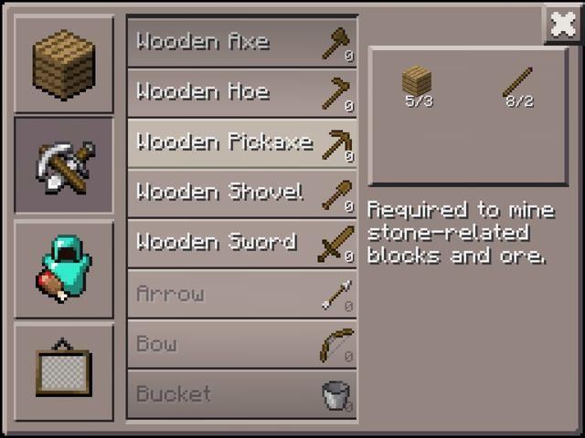 Para las minas de carbón, que necesita una piqueta. Para piedra mío, usted necesita una piqueta. De hecho, para sobrevivir Minecraft, necesita una piqueta! Si te quedas sin madera, sólo asegúrese de recoger un poco más a medida que viajan.