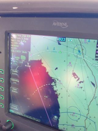 Ruta de vuelo para Ceder Key. 22 min de vuelo KCDK en el mapa de arriba.