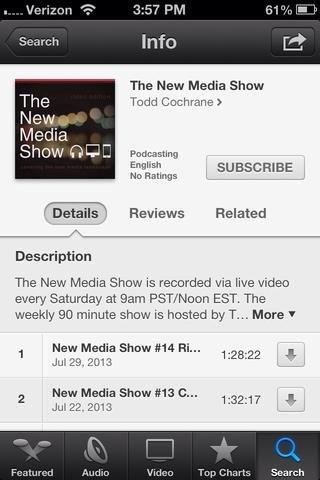 Usted puede suscribirse a un podcast desde el dispositivo móvil mediante la introducción de la aplicación Podcasts's Store mode and searching for a title or browsing the suggested titles. Click