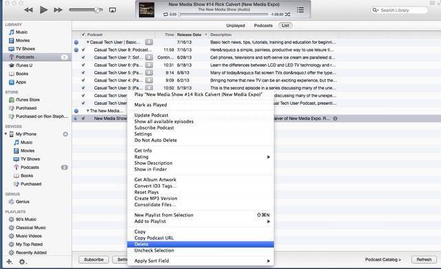 Consejo: Si desea eliminar un episodio jugado en iTunes a partir tanto de iTunes y el dispositivo móvil, haga clic derecho sobre el episodio y seleccione