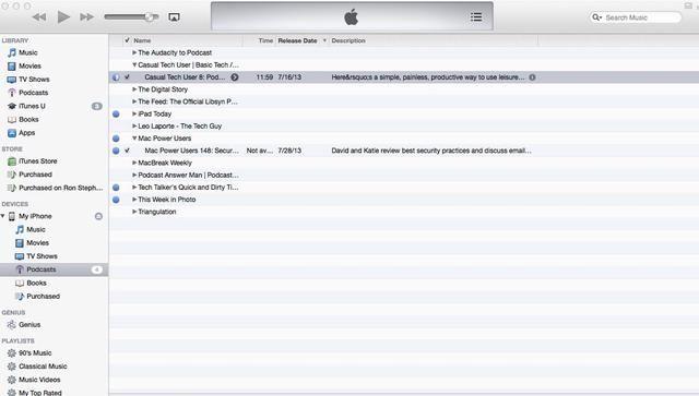 Puede eliminar un episodio en su dispositivo móvil mientras que en iTunes seleccionando Podcasts en el listado de dispositivos móviles y seleccionar el episodio deseado. Entonces . . .