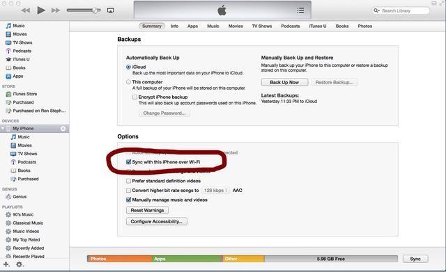 Si desea sincronizar el dispositivo móvil a iTunes sin necesidad de conectar físicamente los dispositivos cada vez, cheque