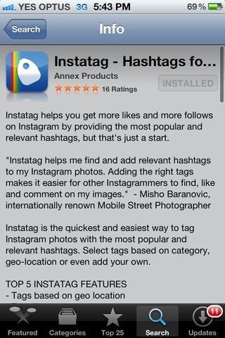Al buscar Instatag en la App Store asegúrese de descargar