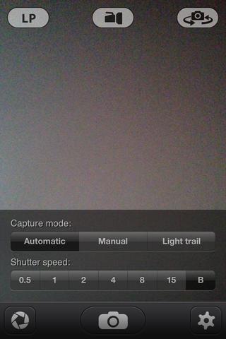 Dentro de la aplicación de obturación lenta, haga clic en el icono de objetivo en la esquina inferior izquierda y seleccione automática del modo de captura y B para Bulbo en la velocidad de obturación.