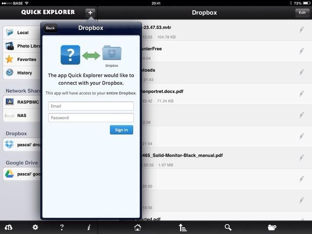 Haga clic en el signo + para agregar un almacenamiento en la nube, seleccione dropbox e insertar la información de su cuenta. La versión gratuita permite la ubicación de almacenamiento 1 nube.