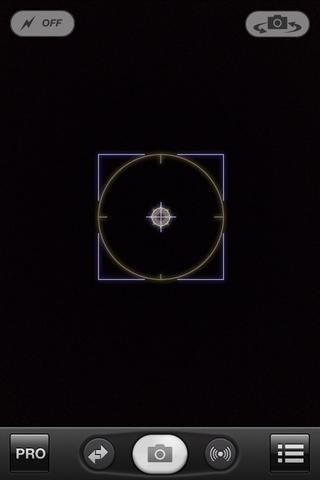 Esta es la pantalla ProCamera apertura. Seleccione el menú en la parte inferior derecha de la pantalla.